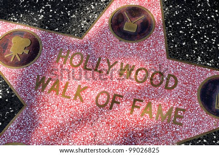 LOS ANGELES - OCT 15: Star of Hollywood Walk of Fame on October 15, 2011 in Los Angeles. There are more than 2,400 five-pointed stars which attract about 10 million visitors annually. - stock photo