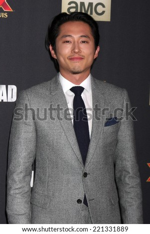 "LOS ANGELES - OCT 2:  Steven Yeun at the ""The Walking Dead"" Season 5 Premiere at Universal City Walk on October 2, 2014 in Los Angeles, CA - stock photo"
