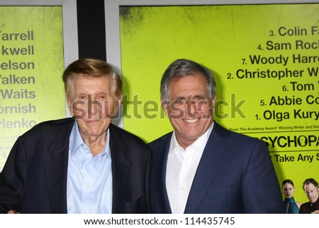 "LOS ANGELES - OCT 30:  Sumner Redstone, Les Moonves  at the ""Seven Psychopaths"" Premiere at Bruin Theater on October 30, 2012 in Westwood, CA - stock photo"