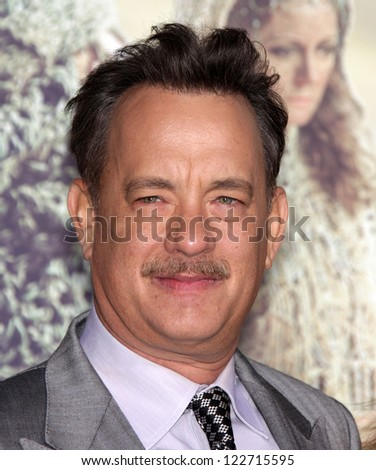 """LOS ANGELES - OCT 24:  Tom Hanks arriving to """"Cloud Atlas"""" Los Angeles Premiere  on October 24, 2012 in Hollywood, CA - stock photo"""