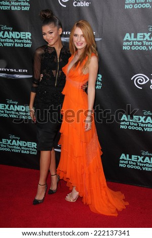 "LOS ANGELES - OCT 6:  Zendaya Coleman, Bella Thorne at the ""Alexander And The Terrible, Horrible, No Good, Very Bad Day"" LA Premiere at El Capitan Theater on October 6, 2014 in Los Angeles, CA - stock photo"