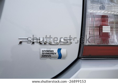 LOS ANGELES - OCTOBER 14: Close up of the logo of the Toyota Prius, a gas-electric hybrid on October 14th, 2007 in Los Angeles. Recently, sales of hybrids have dropped with the economy and gas prices. - stock photo