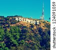 LOS ANGELES - OCTOBER 17: Hollywood sign on October 17, 2011 in Los Angeles. The sign, located in Mount Lee, spells out the name of the area in 45-foot-tall and 350-foot-long white letters - stock photo