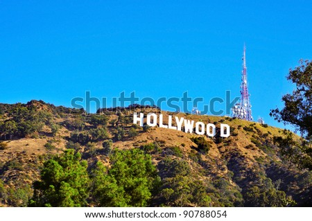 LOS ANGELES - OCTOBER 16: Hollywood sign on October 16, 2011 in Los Angeles. The sign, located in Mount Lee, spells out the name of the area in 45-foot-tall and 350-foot-long white letters