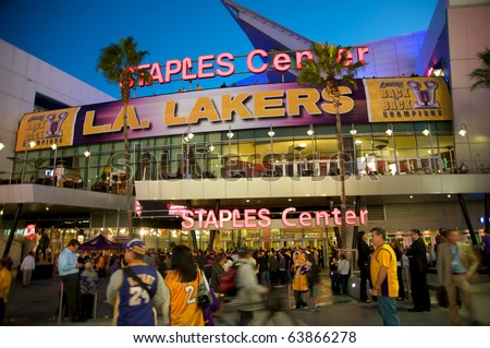 LOS ANGELES - OCTOBER 26: Opening game of the 2010-2011 NBA basketball season on October 26, 2010 in Los Angeles. Entrance of the Staples Center, with Los Angeles Laker receiving the Houston Rockets. - stock photo
