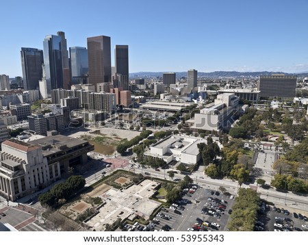 Los Angeles on a rare smog-less winter day. - stock photo