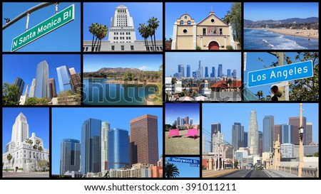 Los Angeles photo collage with skylines, Hollywood and Santa Monica beach. - stock photo