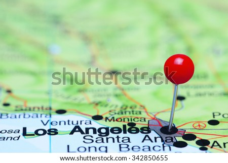 Los Angeles pinned on a map of USA  - stock photo