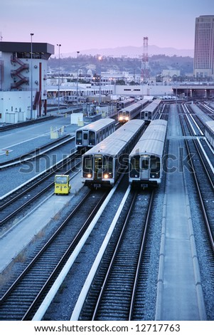 Los Angeles railroad train station, view from above - stock photo