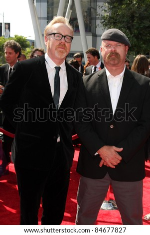 LOS ANGELES - SEP 10:  Adam Savage, Jamie Hyneman of Mythbusters arriving at the Celebration of L.A. ARTS MONTH at Calvin Klein Store on September 10, 2011 in Los Angeles, CA