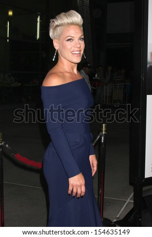 """LOS ANGELES - SEP 16:  Alecia Moore, aka Pink at the """"Thanks for Sharing"""" Premiere  at ArcLight Hollywood Theaters on September 16, 2013 in Los Angeles, CA - stock photo"""