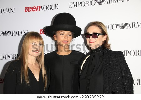 LOS ANGELES - SEP 26:  Amy Astley, Zendaya Coleman, Lisa Love at the 12th Annual Teen Vogue Young Hollywood Party at Emporio Armani on September 26, 2014 in Beverly Hills, CA - stock photo