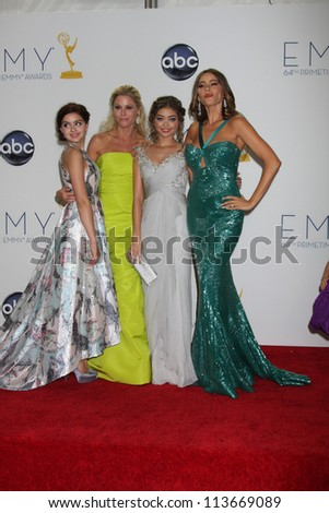 LOS ANGELES - SEP 23:  Ariel Winter, Julie Bowen, Sarah Hyland, Sofia Vergara in the press room of the 2012 Emmy Awards at Nokia Theater on September 23, 2012 in Los Angeles, CA - stock photo