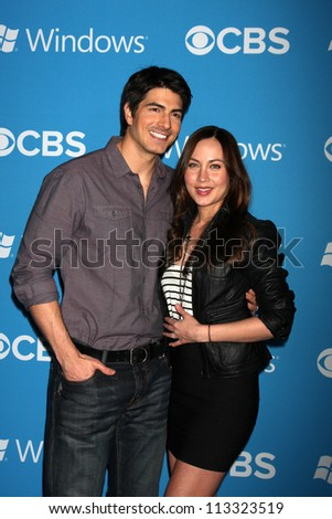 LOS ANGELES - SEP 15:  Brandon Routh, Courtney Ford arrives at the CBS 2012 Fall Premiere Party  at Greystone Manor on September 15, 2012 in Los Angeles, CA - stock photo
