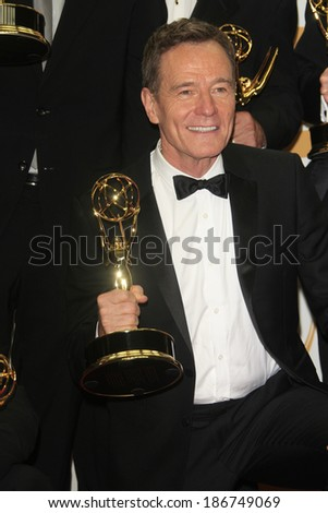 LOS ANGELES - SEP 22: Bryan Cranston in the press room during the 65th Annual Primetime Emmy Awards held at Nokia Theater L.A. Live on September 22, 2013 in Los Angeles, California