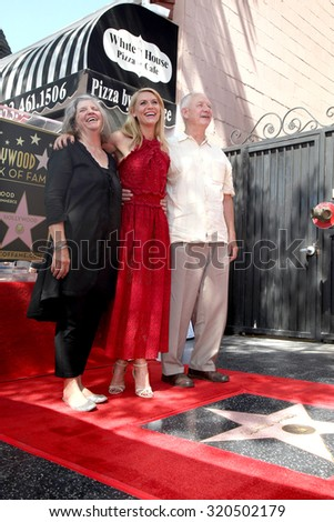 LOS ANGELES - SEP 24:  Carla Danes, Claire Danes, Christopher Danes at the Claire Danes Hollywood Walk of Fame Star Ceremony at the Hollywood Blvd on September 24, 2015 in Los Angeles, CA - stock photo