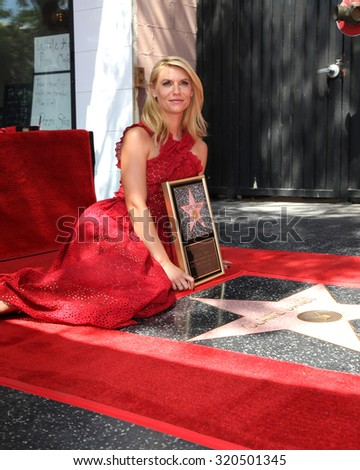 LOS ANGELES - SEP 24:  Claire Danes at the Claire Danes Hollywood Walk of Fame Star Ceremony at the Hollywood Blvd on September 24, 2015 in Los Angeles, CA - stock photo