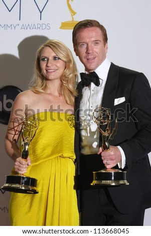LOS ANGELES - SEP 23:  Claire Danes, Damian Lewis in the press room of the 2012 Emmy Awards at Nokia Theater on September 23, 2012 in Los Angeles, CA - stock photo