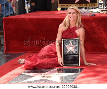 LOS ANGELES - SEP 24:  Claire Danes Walk of Fame Honors Claire Danes  on September 24, 2015 in Hollywood, CA                 - stock photo