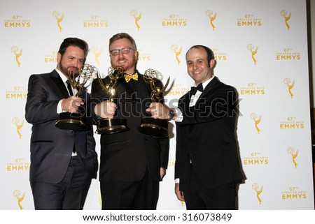 LOS ANGELES - SEP 12:  Deadliest Catch Winners at the Primetime Creative Emmy Awards Press Room at the Microsoft Theater on September 12, 2015 in Los Angeles, CA - stock photo