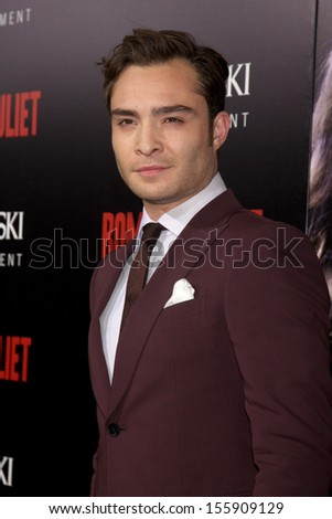 LOS ANGELES - SEP 24:  Ed Westwick at the Romeo & Juliet Premiere at ArcLight Hollywood Theaters on September 24, 2013 in Los Angeles, CA