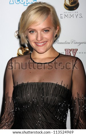 LOS ANGELES - SEP 21:  Elisabeth Moss arrives at the Primetime Emmys Performers Nominee Reception at Spectra by Wolfgang Puck on September 21, 2012 in Los Angeles, CA - stock photo