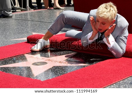 LOS ANGELES - SEP 4:  Ellen DeGeneres at the Hollywood Walk of Fame Ceremony for Ellen Degeneres at W Hollywood on September 4, 2012 in Los Angeles, CA - stock photo