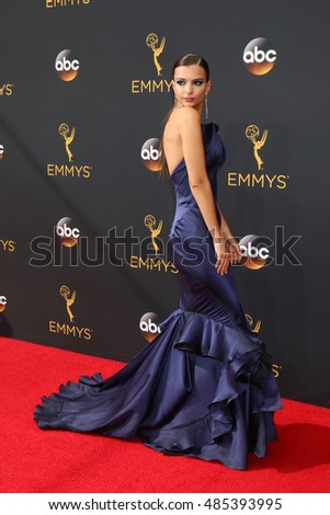 LOS ANGELES - SEP 18:  Emily Ratajkowski at the 2016 Primetime Emmy Awards - Arrivals at the Microsoft Theater on September 18, 2016 in Los Angeles, CA