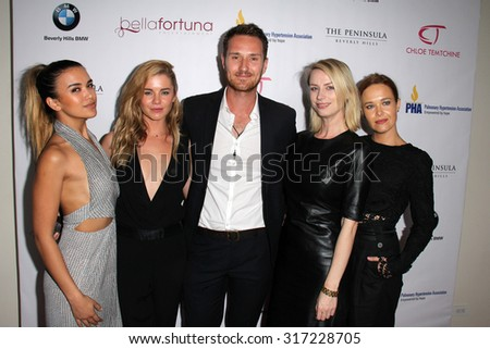 "LOS ANGELES - SEP 15:  Fely Irvine, Jessica Grace Smith, Benedict Wall, Gemma Lee, Krew Boylan at the  ""Emmys Celebrating Diversity"" at the The Penninsula on September 15, 2015 in Beverly Hills, CA - stock photo"