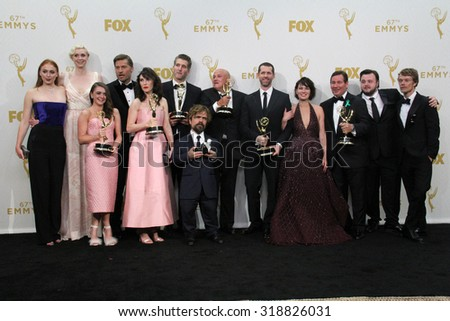 LOS ANGELES - SEP 20:  Game of Thrones Cast and Producers at the Primetime Emmy Awards Press Room at the Microsoft Theater on September 20, 2015 in Los Angeles, CA - stock photo