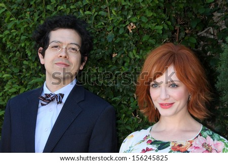 LOS ANGELES - SEP 29:  Geoffrey Arend, Christina Hendricks at the Rape Foundation Annual Brunch at Green Acres Estate on September 29, 2013 in Beverly Hills, CA
