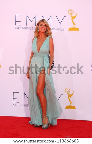 LOS ANGELES - SEP 23:  Heidi Klum arrives at the 2012 Emmy Awards at Nokia Theater on September 23, 2012 in Los Angeles, CA - stock photo