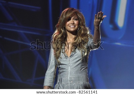 LOS ANGELES - SEP 22: Jennifer Lopez at an event where the new judges for American Idol (Jennifer Lopez and Steven Tyler) are introduced at the Forum in Los Angeles, CA on September 22, 2010 - stock photo