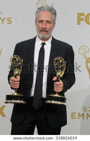LOS ANGELES - SEP 20:  Jon Stewart at the Primetime Emmy Awards Press Room at the Microsoft Theater on September 20, 2015 in Los Angeles, CA - stock photo