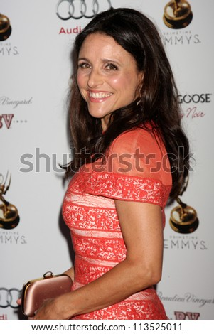LOS ANGELES - SEP 21:  Julia Louis-Dreyfus arrives at the Primetime Emmys Performers Nominee Reception at Spectra by Wolfgang Puck on September 21, 2012 in Los Angeles, CA - stock photo