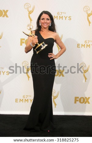 LOS ANGELES - SEP 20:  Julia Louis-Dreyfus at the Primetime Emmy Awards Press Room at the Microsoft Theater on September 20, 2015 in Los Angeles, CA - stock photo