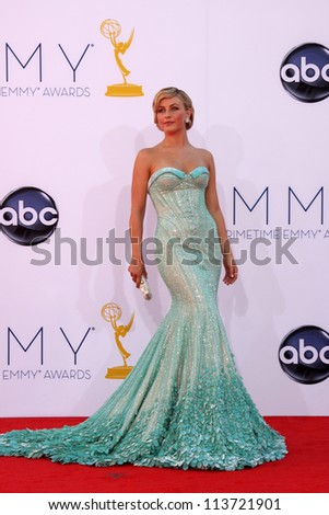 LOS ANGELES - SEP 23:  Julianne Hough arrives at the 2012 Emmy Awards at Nokia Theater on September 23, 2012 in Los Angeles, CA - stock photo