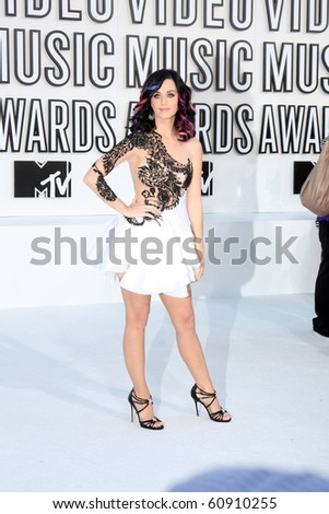 LOS ANGELES - SEP 12:  Katy Perry arrives at the 2010 MTV Video Music Awards  at Nokia LA Live on September 12, 2010 in Los Angeles, CA - stock photo