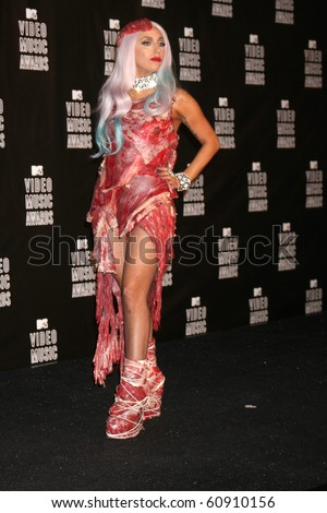 LOS ANGELES - SEP 12:  Lady Gaga arrives at the 2010 MTV Video Music Awards  at Nokia - LA Live on September 12, 2010 in Los Angeles, CA - stock photo