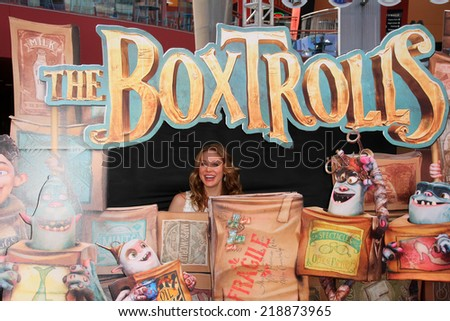 """LOS ANGELES - SEP 21:  Maitland Ward at the """"The Boxtrolls"""" Los Angeles Premiere at Universal City Walk on September 21, 2014 in Los Angeles, CA - stock photo"""