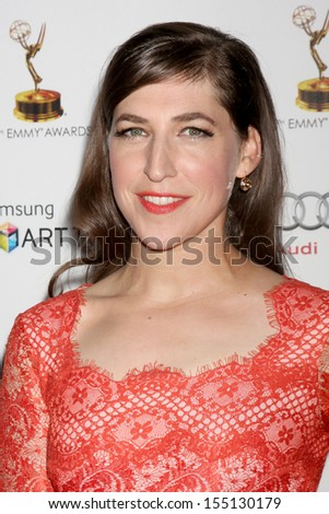 LOS ANGELES - SEP 20:  Mayim Bialik at the Emmys Performers Nominee Reception at  Pacific Design Center on September 20, 2013 in West Hollywood, CA - stock photo