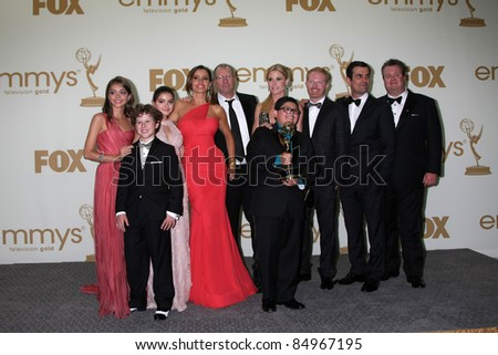 LOS ANGELES - SEP 18:  Modern Family Cast in the Press Room at the 63rd Primetime Emmy Awards at Nokia Theater on September 18, 2011 in Los Angeles, CA - stock photo