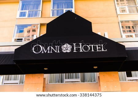 LOS ANGELES - SEP 28, 2015: Omni hotel in the Downtown of Los Angeles, California. Downtown Los Angeles is the central business district of Los Angeles, California