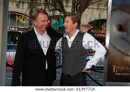 LOS ANGELES - SEP 19:  Sam Neill, David Wenham arrive at the Legend of the Guardians: The Owls of Ga'Hoole Premiere at Grauman's Chinese Theater on September 19, 2010 in Los Angeles, CA - stock photo