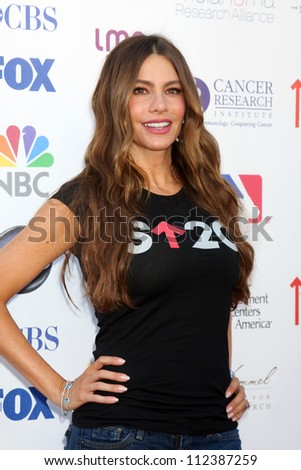 LOS ANGELES - SEP 7:  Sofia Vergara arrives at the 2012 Stand Up To Cancer Benefit at Shrine on September 7, 2012 in Los Angeles, CA - stock photo
