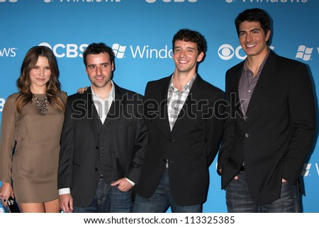 LOS ANGELES - SEP 15:  Sophia Bush, David Krumholtz, Michael Urie, Brandon Routh arrives at the CBS 2012 Fall Premiere Party  at Greystone Manor on September 15, 2012 in Los Angeles, CA - stock photo
