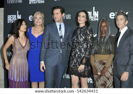"LOS ANGELES - SEP 29:  Tamlyn Tomita, C Goodall, Richard Armitage, Michelle Forbes, April Grace, Leland Orser at the ""Berlin Station"" Premiere at Milk Studios on September 29, 2016 in Los Angeles, CA"
