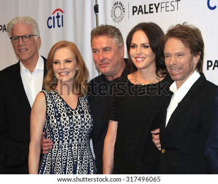 "LOS ANGELES - SEP 16:  Ted Danson, Marg Helgenberger, W Petersen, Jorja Fox, J Bruckheimer at the Fall TV Preview - ""CSI"" Farewell Salute at the Paley Center on September 16, 2015 in Beverly Hills, CA - stock photo"