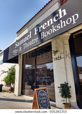 LOS ANGELES,SEP 4TH 2016: The famous Samuel French Film and Theatre Bookshop on Sunset Boulevard, which has been in business for 65 years and has one of the largest selection of film and theater books