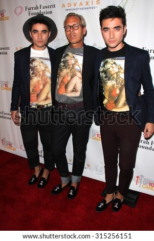 LOS ANGELES - SEP 9:  Tim Quinn, Jesus Estrada, Antonio Estrada at the Farrah Fawcett Foundation Fiesta at the Wallis Annenberg Center on September 9, 2015 in Beverly Hills, CA - stock photo